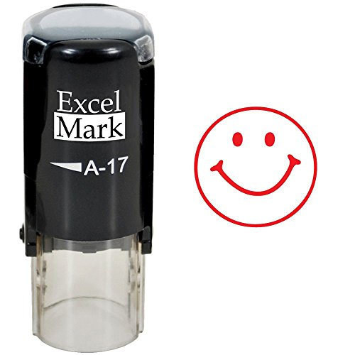 Round Teacher Stamp - Smiley FACE 1 - RED Ink