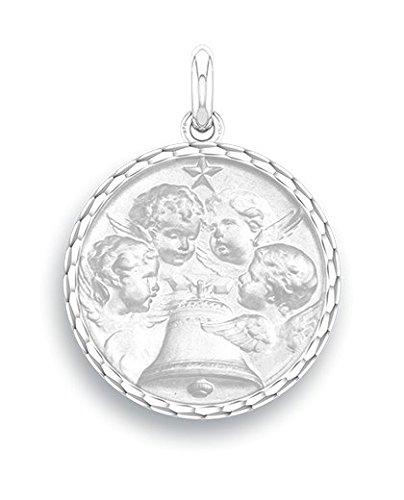 ANGELUS - Médaille Religieuse - Or Blanc 9 carats - Diamètre: 17 mm - www.diamants-perles.com