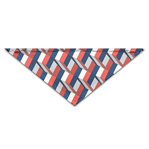 Dog Bandanas France Flag 3D Art Pattern Triangle Dog Bibs Washable Printing Scarf Assortment Suitable for Small to Large ()