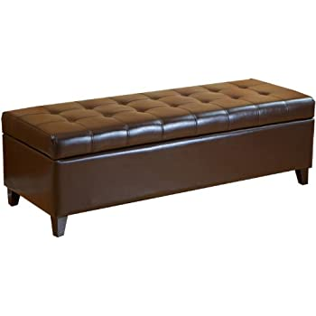 Best Selling Mission Brown Tufted Leather Storage Ottoman Bench  sc 1 st  Amazon.com & Amazon.com: Homelegance Lift Top Storage Bench Faux Leather Dark ... islam-shia.org