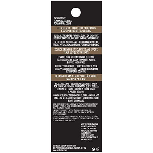 Maybelline New York Tattoostudio Brow Pomade Long Lasting, Buildable, Eyebrow Makeup, Soft Brown, 0.106 Ounce