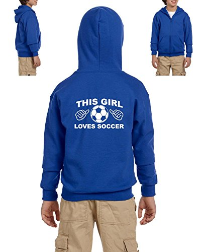 fan products of Mom's Favorite Soccer Hoodie This Girl Loves Soccer Sports Fan Games Birthday Gift Youth Hoodies Zip Up Sweater