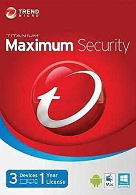 Trend Micro Titanium Maximum Security 2018 | 3 PC's | 1 Year | PC/Mac | Keycard- No Disc