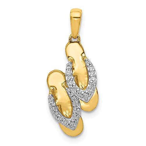 Flip Flop Gold Diamond Charm - 14k & Rhodium Diamond Flip Flop Charm, 14 kt Yellow Gold with Rhodium