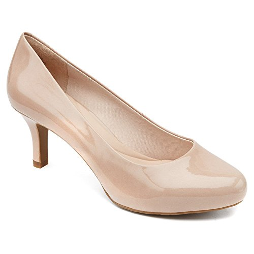 Rockport Women's Seven to 7 Platform Pump,Warm Taupe Patent,6 M - Footwear Patent Taupe