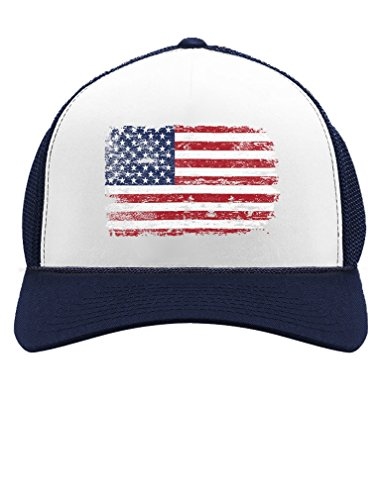 4th of July Vintage Distressed USA Flag American Patriot Trucker Hat Mesh Cap One Size Navy/White -