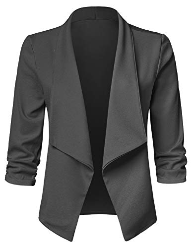 (JSCEND Women's Casual Stretch 3/4 Sleeve Open Front Blazer Cardigan Jacket A-Charcoal)