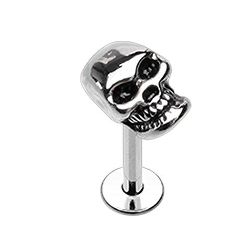 Skull Labret - Inspiration Dezigns 16G 8mm Steel Labret Monroe Stud Skull Head Piercing Jewelry