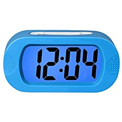Lomanda Digital Alarm Clock,Easy Setting Kids Clock Battery Operated Desk Clock with Backlight Snooze Large LED Display Silicone Cover for Travel Bedroom,Perfect Gift for Boys Girls Seniors Elders
