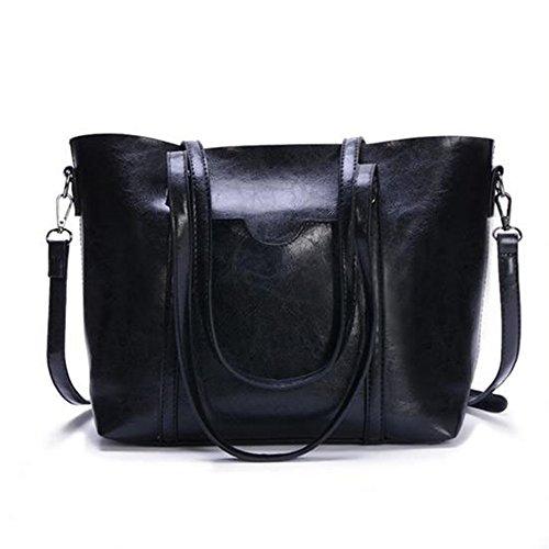 (Women Genuine leather Shoulder Bags Zipper Handbags for Women Top Handle Bag Tote Bags by YUNS (Black) )