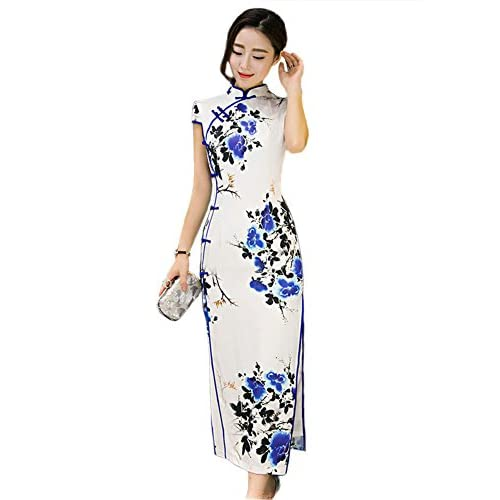 Ambysun Elegant Cheongsam Ladies Silk Velvet Cheong-sam Top Chinese Qipao  Dress Robe 80% 0ede3de8ad04
