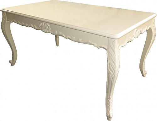 Casa Padrino Barock Esstisch Creme Hochglanz - Esszimmer Tisch - alle Grössen, Tisch Abmessungen:220 x 100 cm x H 82 cm