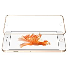 """iPhone 6 Plus Screen Protector,LOFS® Ballistic Tempered 3D Curved Surface Glass Metal Frame Full Screen Cover to Power iPhone 6 Plus iPhone 6s Plus 5.5""""- Champagne Gold"""