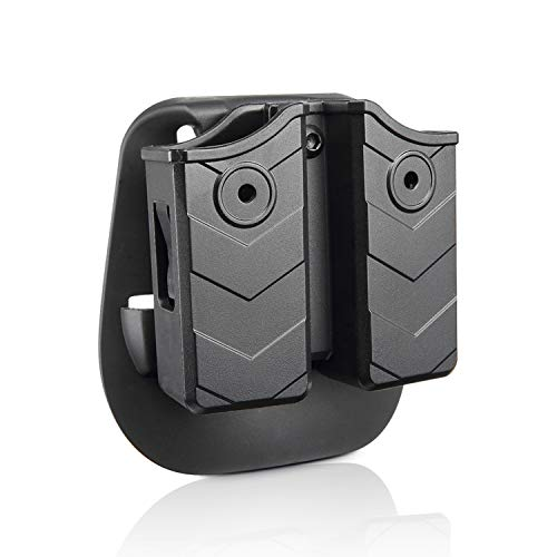 efluky Double Magazine Pouch - 9mm/.40 Cal Magazine Holster Double Stack Magazine Holder with Paddle for Glock/H&K/S&W/Ruger/Sig Sauer/Springfield/Taurus/Beretta/CZ/Walther and More (Taurus 45 Magazine)