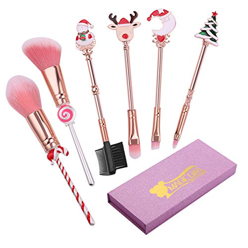 Cute Fairy Makeup Brush Set - 6pcs Wand Makeup Brushes with Christmas Cartoon Handle for Blush, Foundation, Eyebrow, Eyeshadow, and Lips, Prefect Christmas Gift for Sister