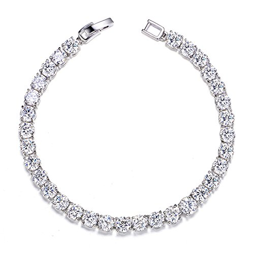 UMODE 18K White Gold Plated Jewelry 0.5 Carat Round Cut Clear Cubic Zirconia CZ Tennis Bracelet for Woman (6.5 inch)