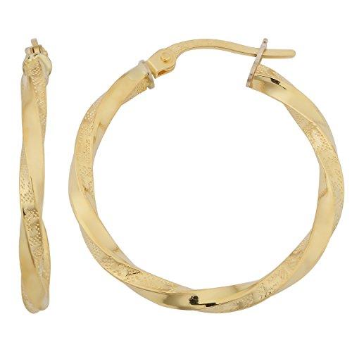 18k Gold Key - 18k Yellow Gold 2mm Greek Key Twisted Hoop Earrings