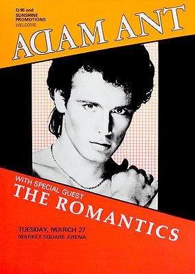 Adam Ant - The Romantics - 1984 - Market Square Arena - Concert Poster (Market Square Arena)