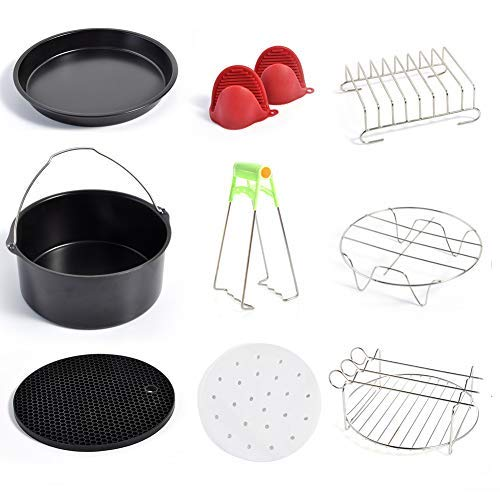 Air Fryer Accessories Set of 10PCS Compatible Gowise Phillips Cozyna 7Inch Air Fryer Fit all 3.7QT 4.2QT 5.3QT 5.8QT Deep Fryer Accessories by QUIENKITCH