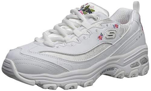 Skechers Kids Girls' D'Lites-Bright Blossoms Sneaker, White, 4 Medium US Big Kid ()