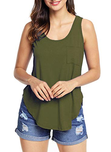 (Grace Elbe Women's Loose Fit Side Slits Tank Tops Army Green XX-Large)