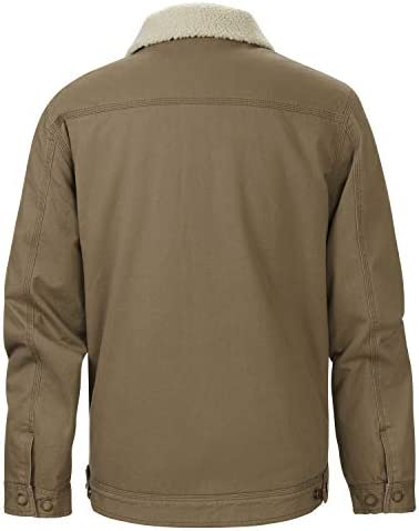 The American Outdoorsman Solid Sherpa Lined Workwear Trucker Jacket with Button Closure