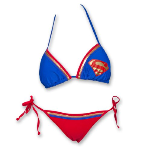 DC Comics Supergirl Superman Triangle String Bikini Bathing Suit Set XL Blue/Red -