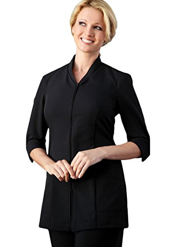 Averill's Sharper Uniforms Ladies Pravia Zipper Front with Piping Spa Tunic 3/4 Sleeve, Small, Black-Black-Piping