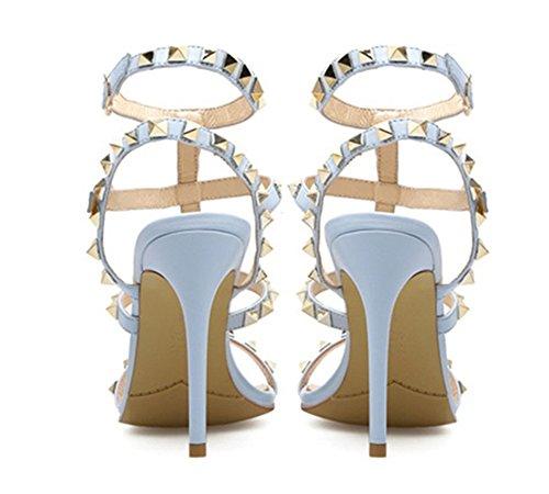 Rivetti Cinghie Cinghietti Caviglia Pompa Tacchi Donna Festa Nvxie Blue Stiletti Toe Sandali Alto Peep Vestito tSnXwHgWaq