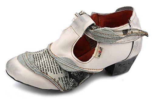 TMA Damen Leder Schuhe Halbschuhe Pumps 6716 Weiß / Beige
