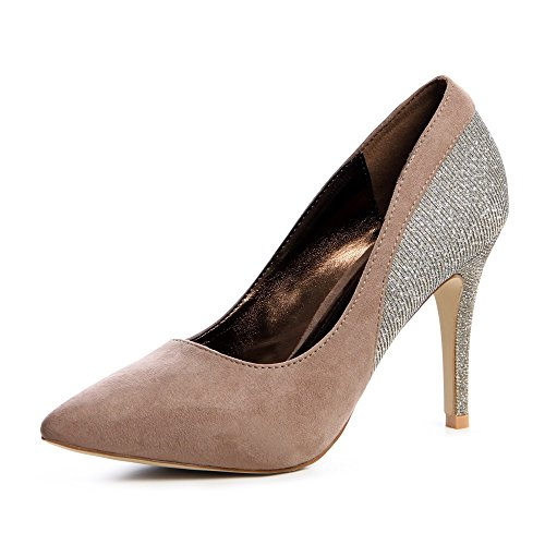 topschuhe24 - Zapatos de vestir de tela para mujer Marrón - caqui