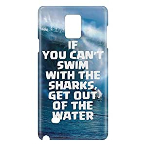 Loud Universe Samsung Galaxy Note 4 3D Wrap Around If You Cant Swim With Sharks Print Cover - Blue