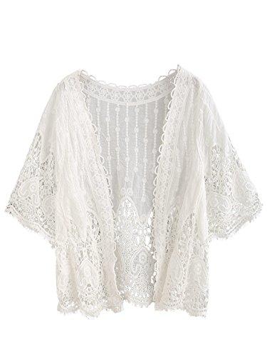 SweatyRocks Women's Floral Lace Crochet Kimono Cardigan Beach Wear Cover up Swimwear White One Size (Cover Sweater)