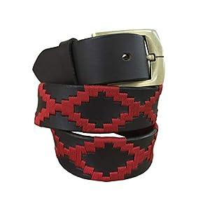 Carlos Diaz Cinturón de polo argentino de cuero Negro bordado para hombres y mujeres unisex   DeHippies.com