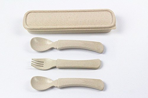 Baby Spoon and Fork Set Toddler Cutlery Set with Carrying Box Training Children to Self Feeding Travel Tableware Sets Child Tableware, Easy to Carry Out (3.6 oz, Natural) by joytimeWH (Image #2)