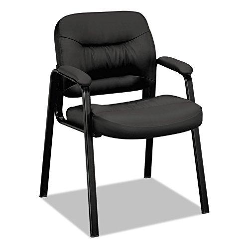 BASYX VL643SB11 VL640 Series Leather Guest Leg Base Chair Black