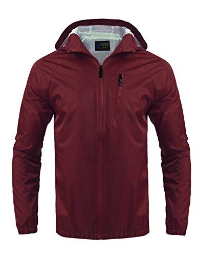 Coofandy Men's Outdoor Hiking Jacket Waterproof Rain Coat (Large, Red)