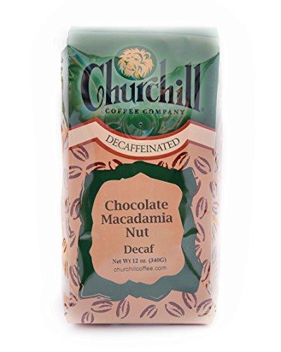 Churchill Coffee Chocolate Macadamia Nut 12 oz - Ground (Macadamia Nut Flavored Decaf Coffee)