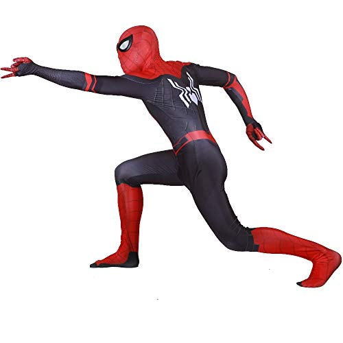 Spiderman Far from Home Costume Kids/Adult Jumpsuit Tom Holland Cosplay Bodysuit (Kid XS) Black