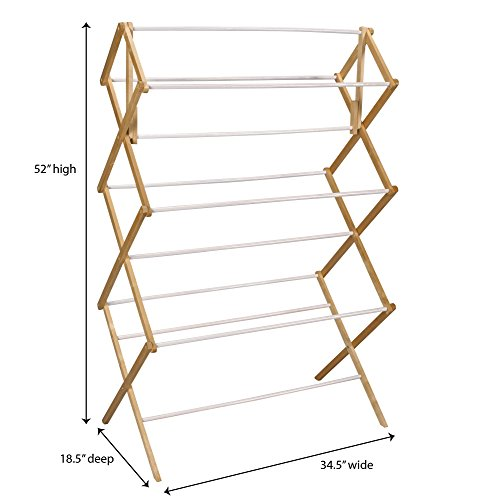 Household Essentials Folding Clothes Drying Rack, Wood Frame with Vinyl Dowels by Household Essentials (Image #2)