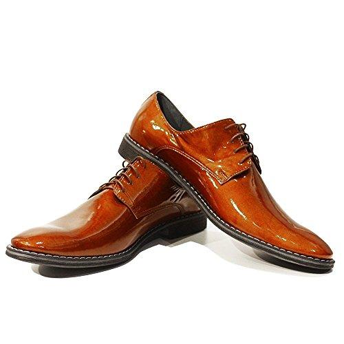 PeppeShoes Modello Ambrogio - Handgemachtes Italienisch Leder Herren Braun Oxfords Abendschuhe Schnürhalbschuhe - Ziegenleder Lackleder - Schnüren