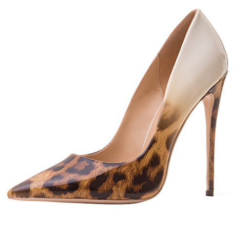 Enmayer Donna Tacchi Alti Scarpe A Punta Scarpe Allacciate Sexy Party Dress Sandali Marroni Leopardati