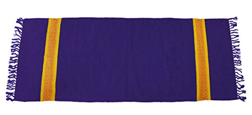 YogaAccessories Cotton Yoga Mat Diamond Pattern Rug - Blue