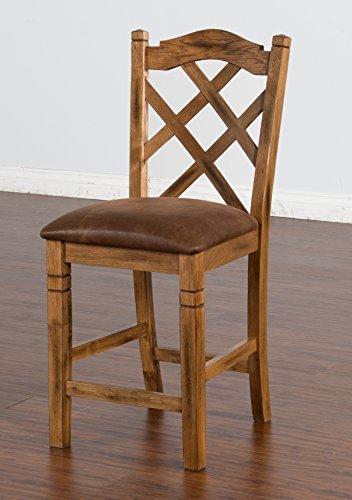 Sunny Designs Sedona Double Crossback Barstool in Rustic Oak Set of 2