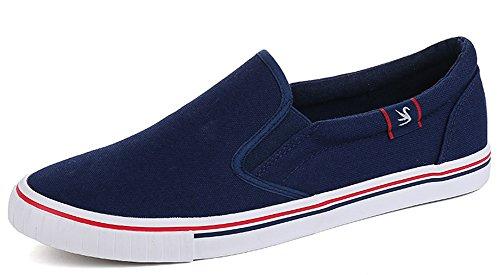 Idifu Para Mujer Para Hombre Casual Top Low Flat Canvas Mocasines Zapatos Para Parejas Azul