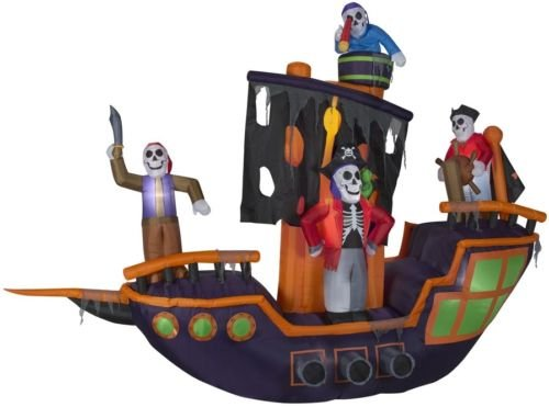 Inflatable Haunted Pirate Ship Halloween Skeleton Decoration 9.12-ft x 11.5-ft Animatronic Lighted -