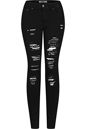 2LUV Women's Stretchy 5 Pocket Destroyed Black Skinny Jeans Black (Acid Wash Tee)