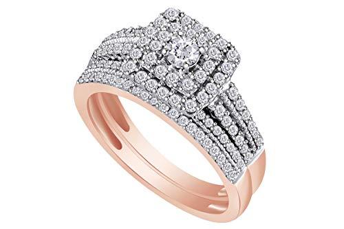 3/4 Carat (Cttw) Round Diamond Double Halo Bridal Wedding Engagement Ring 14K Rose Gold Band Set Ring Size-5