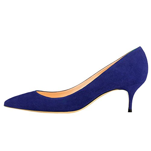 (June in Love Women's Blue Low Heels Shoes Pointy Toe Daily Pumps Suede-Blue 10 US)