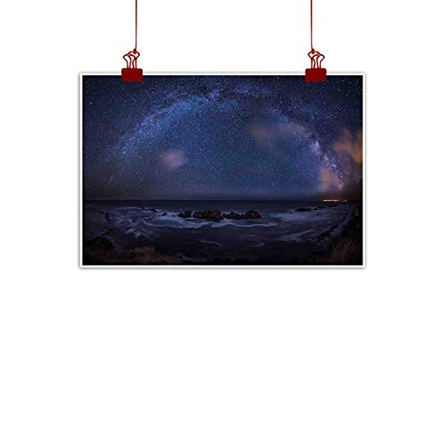 Wall Painting Prints Space,Massive Milky Way Over The Sea Appears to Be a Dark Matter Halo Spread Out in Solar Center,Blue 36
